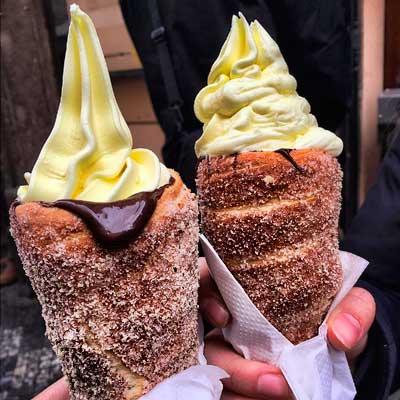 Helado con donuts
